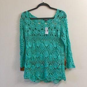 Roz & Ali Sz XL, NWT green long sleeve sweater